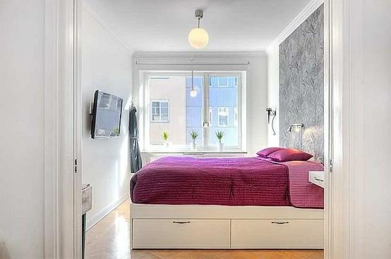 Интерьер помещения: маленькая спальня